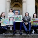 03/052017 NO REPRO FEE, MAXWELLS DUBLIN Over 3,000 Students nationwide paint a picture of how they want Ireland to look in 2040. Pic shows ( l to r) Emily Miller, Secondary Overall Winner, St Leo'd College, Carlow, Iulia Sirbu, Junior Primary Overall Winner, St Lawrence's NS, Crookstown, Co. Kildare, Minister Simon Coveney, Minister for Housing, Planning, Community and Local Government, Dr Michael John O'Mahony, An Taisce and Jennifer Nicholas, Senior Primary Overall Winner, St Mochulla's NS, Tulla, Co. Clare. Winners of the 'Green-Schools Ireland 2040 - Our Plan' National Poster Competition were presented with their prizes by Minister Simon Coveney at an Awards Ceremony at the Custom House in Dublin. Over 3,000 students from 255 schools representing every county in Ireland responded to the challenge of creating a poster to share their thoughts and ideas on how they would like Ireland to look in the future. The competition gave a platform to children and youth to engage in the consultation around the development of Ireland 2040- Our Plan. PIC: NO FEE, MAXWELLPHOTOGRAPHY.IE