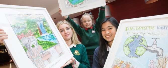 No repro fee 4-5-2017 Picture shows Green-Schools Irish Water 'Be Water Smart' Poster Competition 2017 ,part of the Green-Schools Water Awards, were winners from left Overall Winner 2017 Secondary: Petra Ní Chatháin,(16) Coláiste Íosagáin, Stillorgan;Overall Winner in the Junior Primary category (Infants – 2nd class),Nikole Glinkina, St. Clare's Primary School, Cavan; and  Overall Winner Senior primary (3rd – 6th class)  Kristine Lauron, Loreto Primary School, Rathfarnham;.Green-Schools Water Awards schools from cities and towns across Ireland were recognised for their work on the Water theme of the Green-Schools programme.The awarded schools reduced their water consumption; spread awareness of water conservation and involved their community in the theme. The Green-Schools programme is coordinated by An Taisce's Environmental Education Unit and is proudly supported and sponsored by Irish Water.Pic:Naoise Culhane-no fee